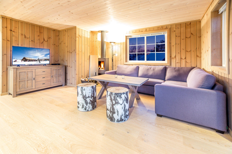 Stue med sofagruppe, peis og TV
